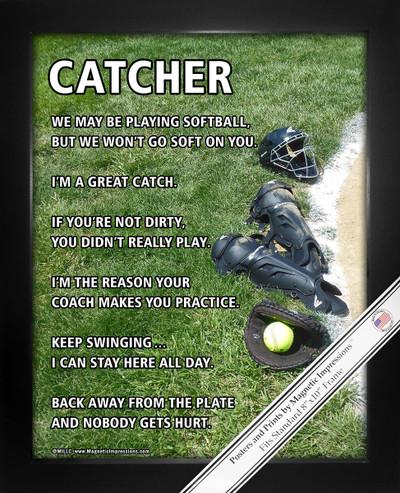 Framed Softball Catcher Gear 8x10 Sport Poster Print
