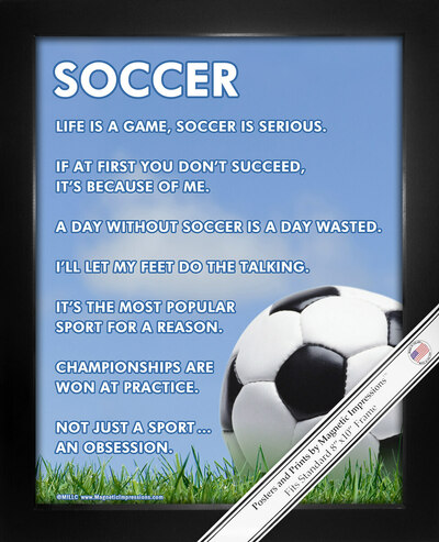 Framed Soccer Ball Sky 8x10 Sport Poster Print