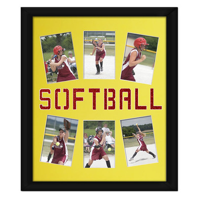 Softball Photo Mat in Yellow with Red Glitter