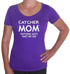 Women's Catcher Mom T-Shirt – Slim Fit Scoop Neck in purple