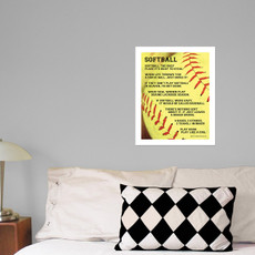 "Softball Sayings 13.75"" x 17"" Wall Decal in room"