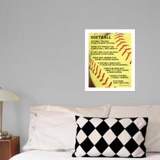 "Softball Sayings 13.75"" x 17"" Wall Decal in room"
