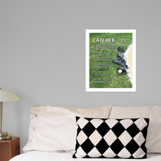 """Softball Catcher Gear 13.75"""" x 17"""" Wall Decal in room"""