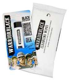 Warriorblack Eyeblack Stick and Cleansing Wipes Set