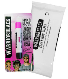Warriorblack Eyeblack Pink and Black Duet Stick and Cleansing Wipes Set