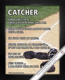 Framed Softball Catcher Home Plate 8x10 Sport Poster Print