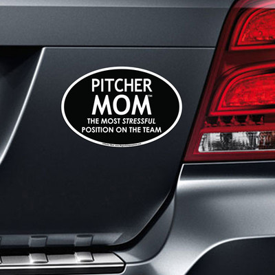Pitcher Mom Car Magnet on Car