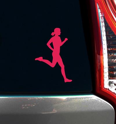 Runner Female Window Decal on Car Window
