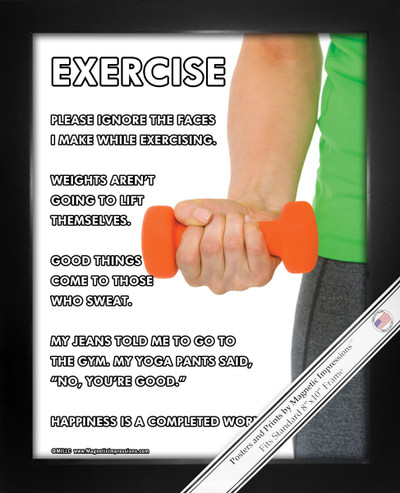 Framed Exercise Women's Hand Weights 8x10 Sport Poster Print