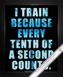 Framed Swimming Tenth of a Second Quote 8x10 Poster Print