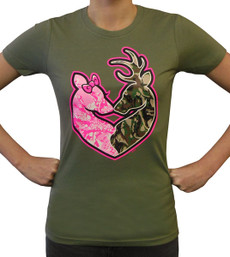 Women's Buck and Doe T-Shirt Camo Heart