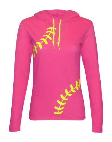 Women's Softball Hoodie T-Shirt – Laces in Pink