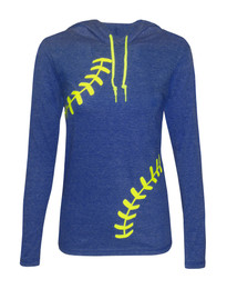 Women's Softball Hoodie T-Shirt – Laces in Blue Heather