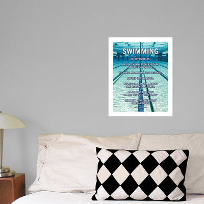 "Swimming Lanes 13.75"" x 17"" Wall Decal in room"