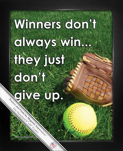 Framed Softball Inspirational Winners Don't Give Up 8x10 Sport Poster Print