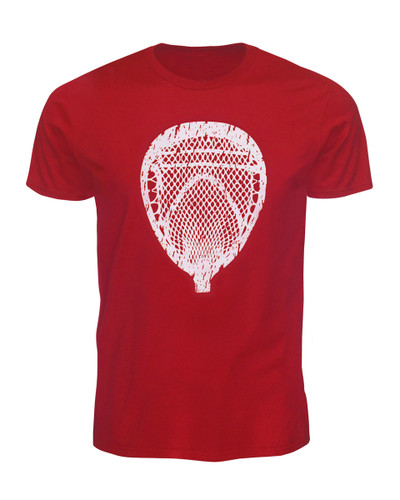 Men's Lacrosse Goalie T-Shirt - Lacrosse Goalie Head in Red