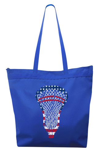 Lacrosse American Flag Tote Bag-USA Lacrosse Head