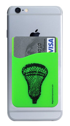 Lacrosse Head Cell Phone Wallet in lime. Phone and cards not included.