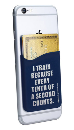 Swimming Running Quote Cell Phone Wallet. Phone and cards not included.