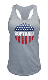 Women's American Flag Softball Tank Top-USA in heather gray