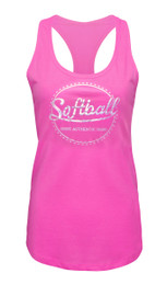 Women's Softball Tank Top with Foil in Pink and Silver