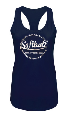 Women's Softball Tank Top with Foil in Navy and Silver