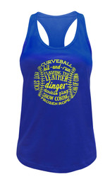 Women's Softball Word Art Tank Top in Blue