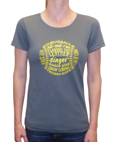 Women's Softball T-Shirt Lingo Design in Charcoal Gray