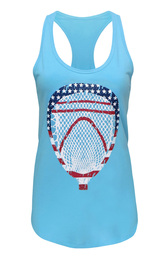 Women's Lacrosse Goalie American Flag Tank Top-USA in light blue