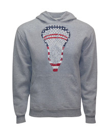 Men's Lacrosse American Flag Hoodie Sweatshirt-USA