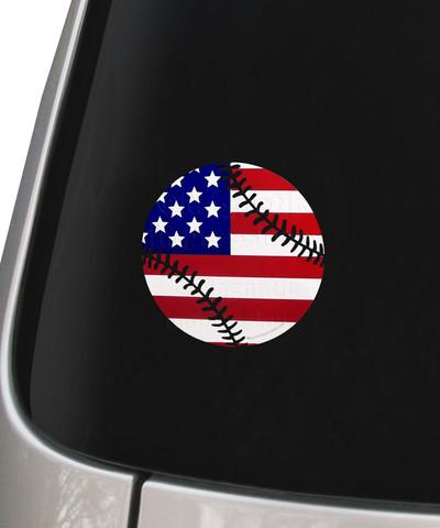 Baseball Softball USA American Flag Decal Sticker on Car