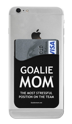 Goalie Mom Most Stressful Position Sports Saying Cell Phone Wallet. Phone and cards not included.