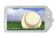Baseball Sky Photo Plastic Luggage Tag front