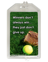Softball Inspirational Winners Quote Plastic Luggage Tag front