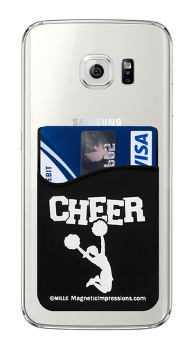 Cheer - Cheerleader with Poms Cell Phone Wallet. Phone and cards not included.