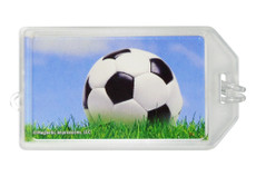 Soccer Ball Sky Photo Plastic Luggage Tag front