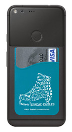 Figure Skate Boot Typography Cell Phone Wallet in teal. Phone and cards not included.
