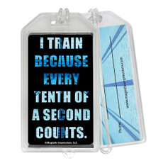 Swimming Tenth of a Second Quote Plastic Luggage Tag front and back