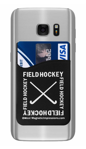 Field Hockey Crossed Sticks Cell Phone Wallet. Phone and cards not included.