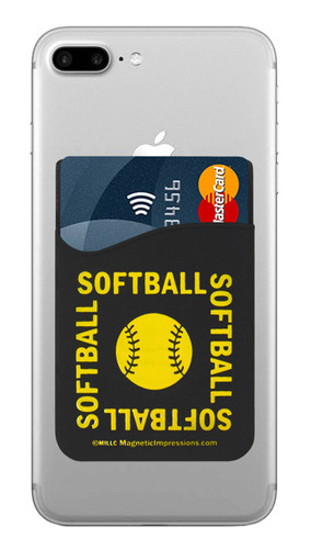 Softball Word Typography Cell Phone Wallet. Phone and cards not included.