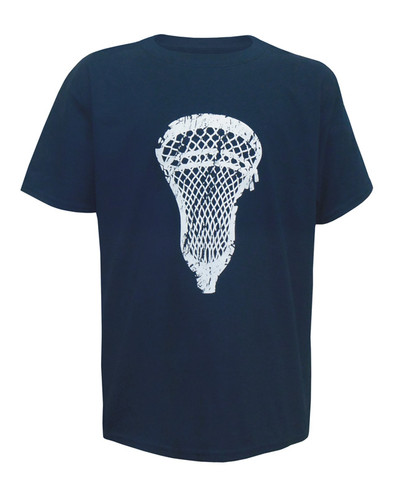 Boy's Youth Lacrosse Head Distressed T-Shirt in navy