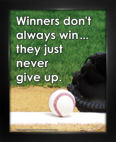 Framed Baseball Inspirational Winners Never Give Up Poster Print