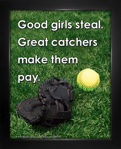 Framed Softball Great Catcher Saying 8 x 10 Sport Poster Print