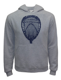 Men's Lacrosse Goalie Head Hoodie Sweatshirt in heather gray