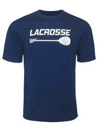 Men's Lacrosse Goalie Stick Performance T-Shirt in Navy