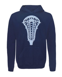 Girl's Youth Lacrosse Head Hoodie Sweatshirt in Navy