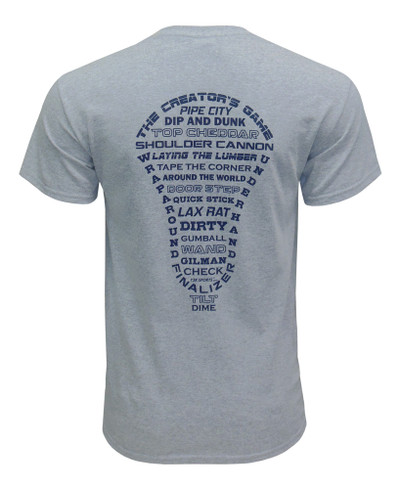 Men's Lacrosse Head Word Art T-Shirt in gray
