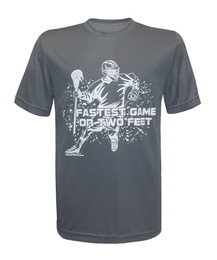 Boy's Youth Lacrosse Fastest Game Quote Performance T-Shirt in charcoal gray