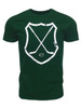 Men's Ice Hockey Crossed Sticks Shield T-Shirt in Forest Green