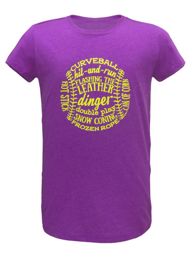 Girl's Youth Softball Word Art T-Shirt in Purple Heather